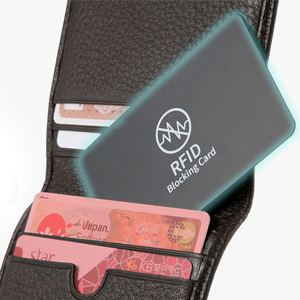 RFID blocking card in wallet