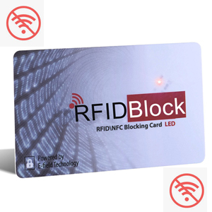 RFID blocking card with no wifi sign
