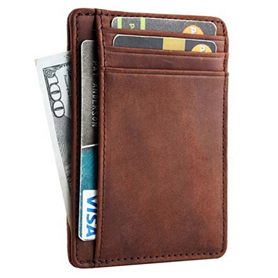 RFID blocking wallet leather