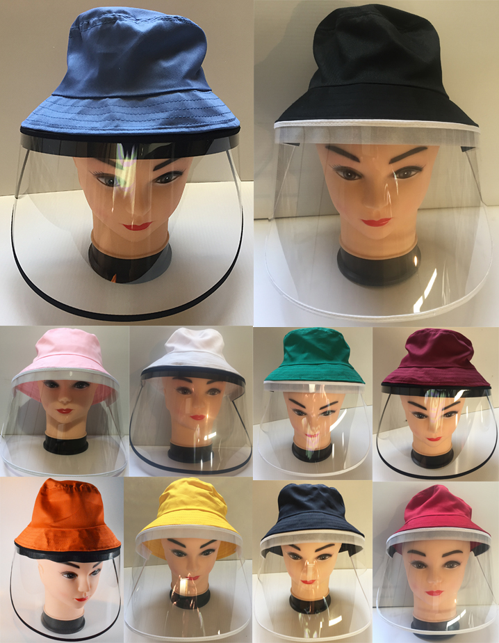 hat with face shield for children